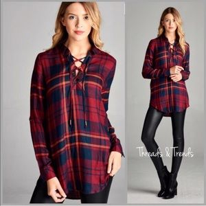 Threads & Trends Tops - Plaid Lace Up Blouse