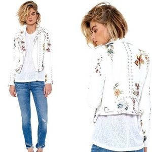 Blank NYC white floral embroidered jacket