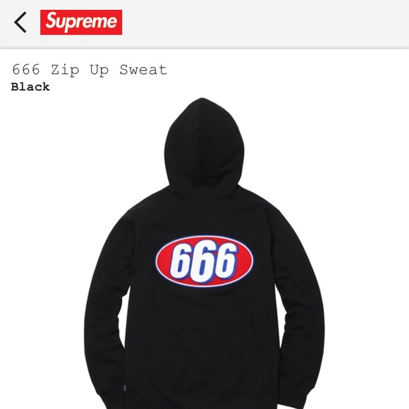 6d294235db41 Supreme Shirts | Sold 666 Zip Up Sweat | Poshmark