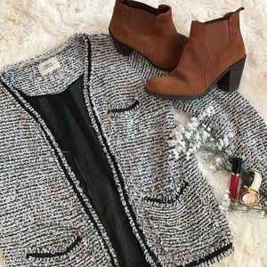 Papaya Sweaters - Papaya Weekend Black and White Fuzzy Cardigan