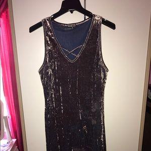Charlotte Russe Dresses & Skirts - Grey/silver velvet dress 👗😍 size 2x