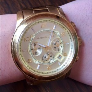 Michael Kors Gold Large Face Chronograph Watch
