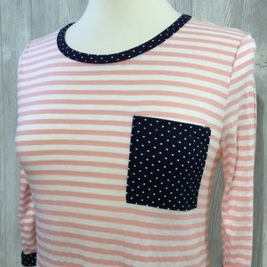 Boutique Tops - Stripe & Polka Dot Detail Top