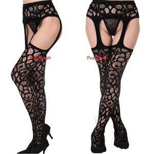 HUE Accessories - Lace Garter Belt Pantyhose Stockings Thigh High