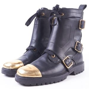 Zadig & Voltaire Shoes - Zadig And Voltaire gold cap toe dore combat boots
