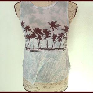 Full Tilt Tops - 💋Tie die palm tree blue white crop top small💋
