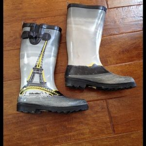 Capelli of New York Shoes - Capelli Paris Eiffel Tower Rain Boots Gray 7