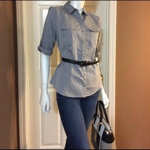 Worthington Tops - Cute Worthington Stretch Gray Button Down Top