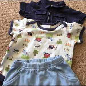 Bon Bebe Other - farm and blue onsies with blue pants