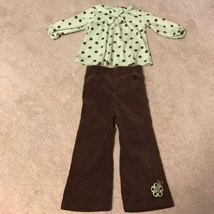 Little Lass Other - Little Lass girls mint green and brown outfit 24M