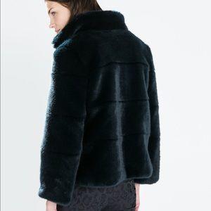 Zara Faux Fur Navy Jacket