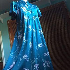 Vintage 60s Liberty House of Hawaii Teal dress