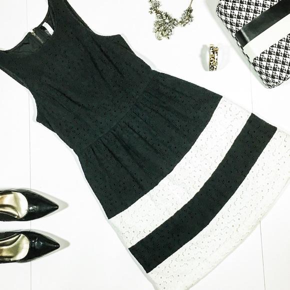 0d1dd797173f0 Kensie Dresses   Skirts - Kensie Black   White Eyelet Fit and Flare Dress