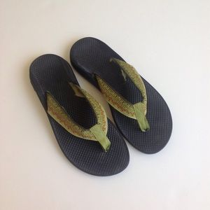 Chaco Shoes - Green Print Chaco Flip Flops