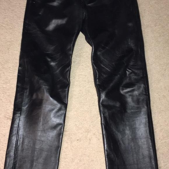 Men's Black Leather Pants