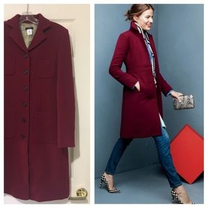 Burgundy fitted wool  coat