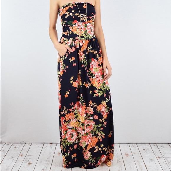 d158d4d24820b Eloges Dresses | Black Floral Strapless Maxi Dress Large | Poshmark