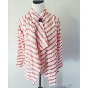 bobeau Sweaters - Bobeau Striped Nautical One-Button Cardigan XS