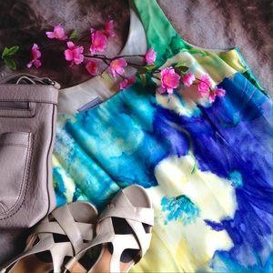 Floral Watercolor Sleeveless Sheath Dress