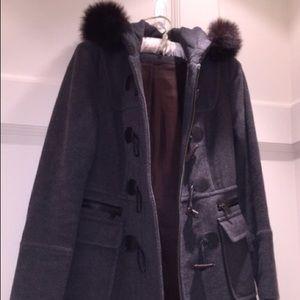 MARC NY Fox Collar Wool Toggle Coat