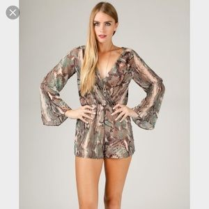 ANGL Other - Sheer snake skin material romper. Size small.
