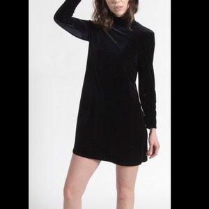 Vintage Black Velvet Turtleneck Dress