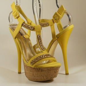 Alba Shoes - 1 HOUR SALE!! YELLOW RHINESTONE HEELS!