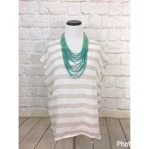 St. Tropez Tops - St. Tropez neutral linen summer tunic top