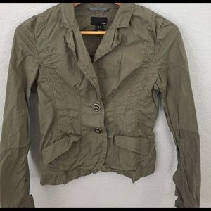 H&M blazer top in olive green color sz 4