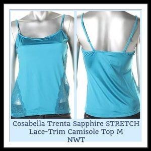 Cosabella Tops - Cosabella Trenta sapphire Lace-Trim Camisole Top