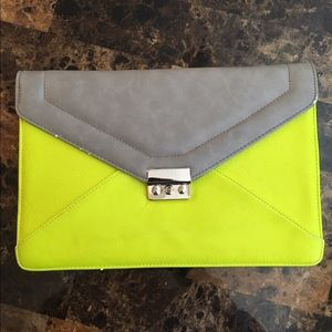 Boutique Neon Green and Grey Clutch