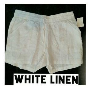 Allen Allen Pants - New White Linen Shorts XL Allen Allen