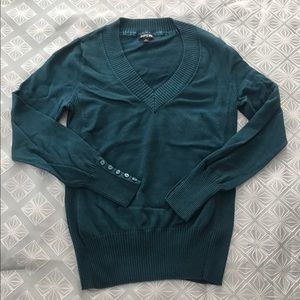 Apt. 9 Sweaters - Blue Green Teal Button Sleeve V-Neck Sweater Apt 9