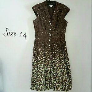 Dress Barn Dresses & Skirts - Tailored chocolate brown dress w full skirt, Sz 14