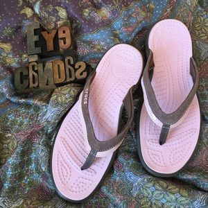 CROCS Shoes - CROCS Pink Patent Leather & Brown Suede Flip Flops