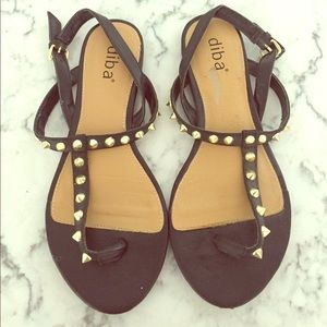 Diba Shoes - Diba Black Sandals with Gold Spikes size 6