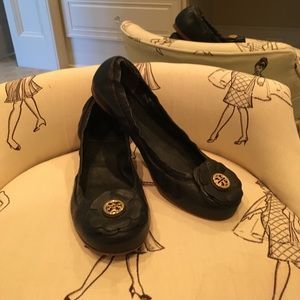 Tory Burch black flower flats.