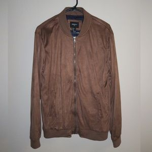 Forever 21 Other - Tan Suede Zip Up Bomber Jacket