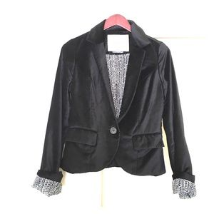 Anthropologie Cartonnier black velvet blazer