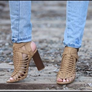 Bamboo Shoes - Stone Strappy Heels