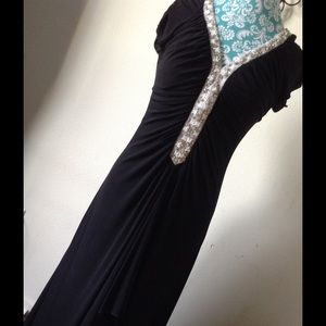 JS Boutique Dresses & Skirts - Floor Length Glam Gown Hand Beaded & Rhinestone