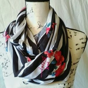 Betsey Johnson Floral Striped Infinity Scarf EUC