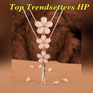 Statement Bib Long Flower & Crystal Necklace