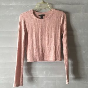 Forever 21 Tops - Blush Pink Ribbed Long Sleeve Crop Top Shirt!