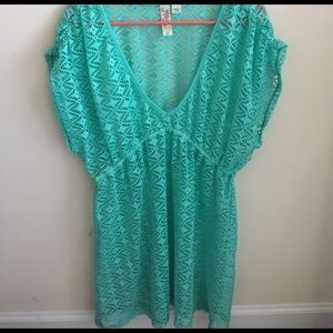 Miken Other - Miken crochet swimsuit cover up teal size xl