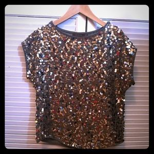 Sequin short-sleeved top. The Limited, XS.