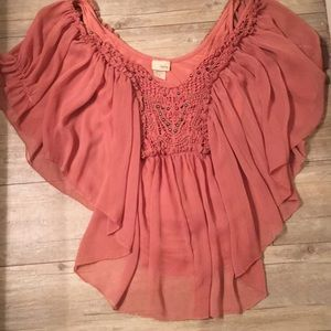 Buckle Tops - Salmon colored blouse