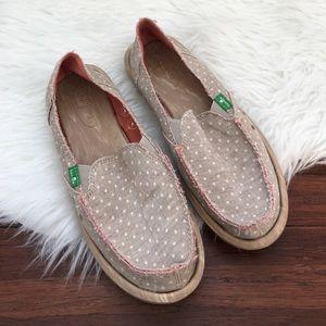 Sanuk Shoes - Sanuk Polka Dot Cream Hot Dotty Slip On Loafers