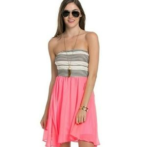 Blossom  Dresses & Skirts - Pink Chiffon Striped mini dress