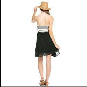 Blossom  Dresses & Skirts - Black Chiffon Striped mini dress